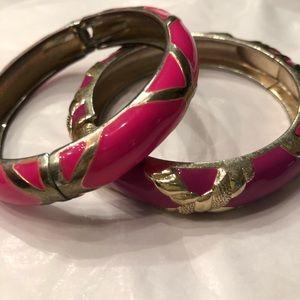 2 enameled bracelets wine and pink